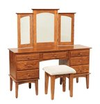 "Amish 56"" Ostego Shaker Vanity Table with Trifold Mirror"