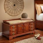 Cherry Wood Fancy Front Hope Chest with Seat Rail
