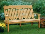 Amish Pine Wood High Back Heart Park Bench