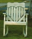 Pine Wood High Back Heart Porch Rocking Chair