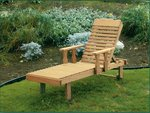 Pine Wood Chaise Lounge with Adjustable Back