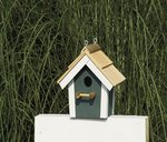Painted Garden Bird House with Cedar Roof