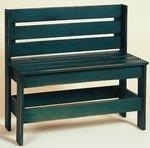 Amish Pine Horizontal Slat Back Bench