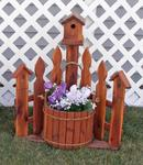 Decorative Medium Picket Fence Planter with Birdhouse
