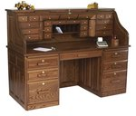 Deluxe Amish Roll Top Desk with Optional Top Drawers