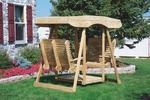 Pine Double Lawn Swing Glider with Canopy