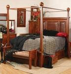 Amish Columbus Bed with Canopy and Storage Rails