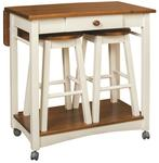 Guest Server Kitchen Island with Two Bar Stools