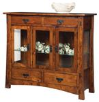 Mission Style Modesto High Buffet with Four Drawers and Three Glass Doors