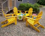 POLYWOOD® Classic Folding Adirondack 5-Piece Conversation Set