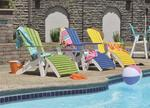Outdoor lounge Berlin Gardens poly wood Adirondack chairs poolside