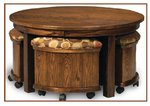 Amish Mission Round Nesting Table and Bench Set with Lift-Top Table