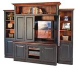 Country Style Entertainment Center with Optional Side Bookcases