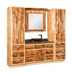 Amish Rustic Log Bathroom Vanity Set