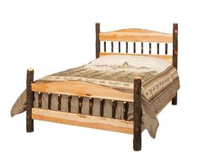 Amish Rustic Cabin Hickory Panel Bed