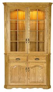 Amish Sullivan Solid Wood Full Door Deluxe Corner Hutch - Lifetime Warranty