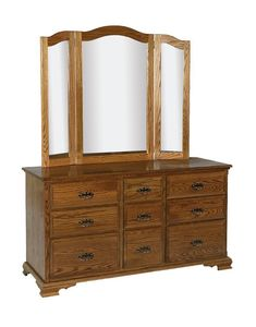 Amish 9 Drawer Dresser with Optional Mirror