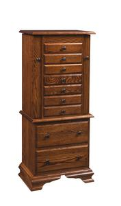 "Amish 48"" Deluxe Jewelry Armoire with Clock Base"