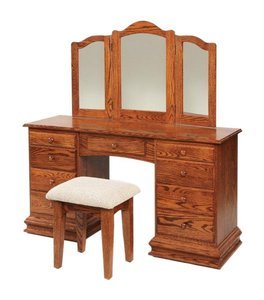 "Amish 56"" Birchwood Deluxe Clockbase Vanity Dressing Table with Trifold Mirror"