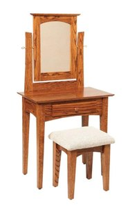 Amish Ostego Shaker Vanity Dressing Table with Mirror