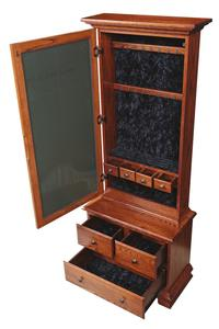 Amish Mirrored Jewelry Armoire with Three Drawers Base