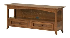 Amish Geneva Open TV Stand with Two Drawers