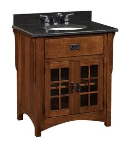 "Amish 33"" Landmark Mission Single Bathroom Vanity Cabinet"