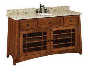 Amish Hatfield Mission Single Bathroom Vanity Cabinet
