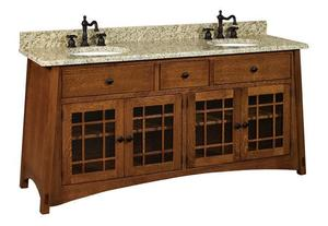 "Amish 72"" McCoy Mission Double Solid Wood Vanity Cabinet"
