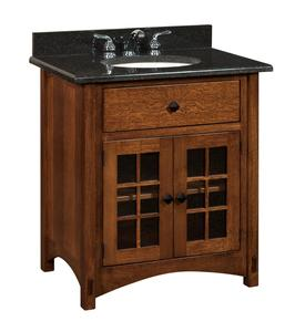 "Amish Bathroom Vanity Solid Wood - 33"" Norfolk Mission Sink Console"