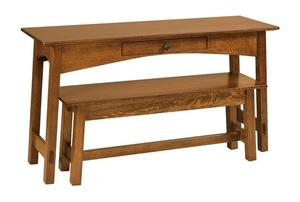 Amish McCoy Mission Open Sofa Table with Optional Nesting Bench