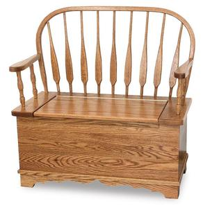 Amish Low Feather Windsor Bench with Storage