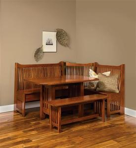 Amish Mission Banquette Seating Nook Set