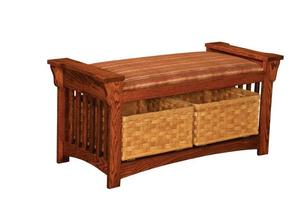 Amish Upholstered Slat Mission Bench with Optional Baskets
