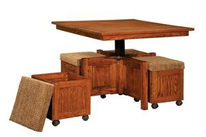 Amish Carlisle Self Storing Nook Set with Lift-Top Square Table and Benches