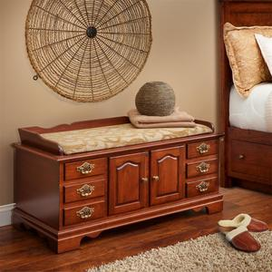 Amish Cherry Wood Fancy Front Hope Chest with Seat Rail