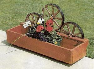 Amish Made Rustic Patio Wheel Planter