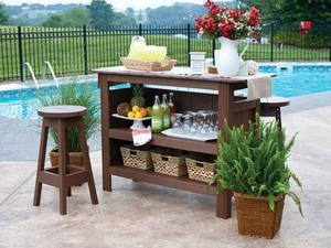 Berlin Gardens Outdoor Bar Set with Backless Bar Stools