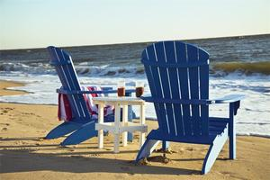 Amish Poly Adirondack Chairs and Round Side Table Set With Optional Footrest Ottomans
