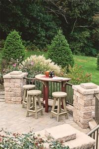 Amish Half Round Poly Patio Pub Table and 2 Bar Stools Set