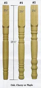 Unfinished Wood Turned Dining Table Leg Medium Size