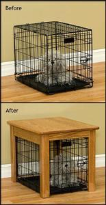 Amish Made Hardwood Dog Crate Cover End Table