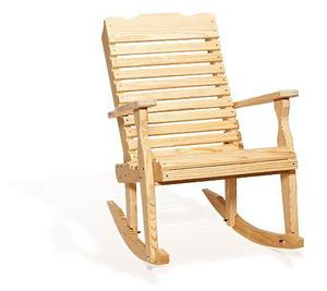 Amish Pine Wood Curve Back Rocking Chair