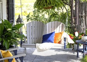 Amish Made Adirondack 4' Fan-Back Poly Porch Swing