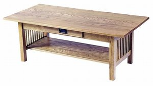 American Mission Rectangular Coffee Table with Drawer