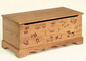 Amish Made Oak Wood Toy Chest with Carving and Optional Engraving