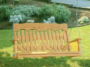 Amish Pine Wood High Back Heart Porch Swing