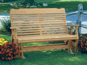 Amish Leisure Lawns Pine Wood Curve Back Porch Glider Bench