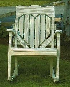 Amish Pine High Back Heart Porch Rocking Chair