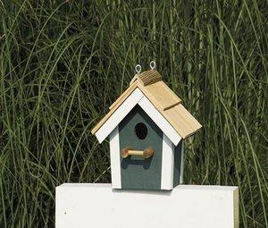Amish Painted Garden Bird House with Cedar Roof